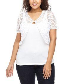 White Embellished Shrug - Plus