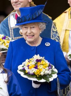 Queen Elizabeth II leaving Christs Church Cathedral in Oxford after The Royal Maundy Service on 28 March 2013 in Oxford