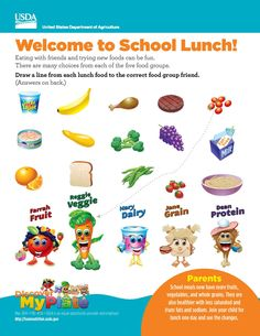 Learn about food groups with this fun #printable graphic from USDA!