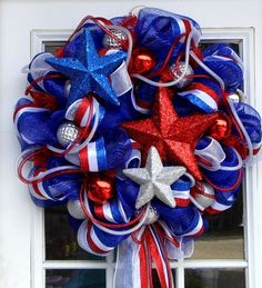 Stars And Stripes Red White And Blue Mesh Wreath by Wreathsfordoor