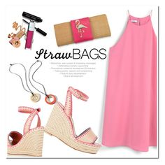 """""""Summer Straw"""" by adduncan ❤ liked on Polyvore featuring MANGO, Valentino, CAbi and strawbags"""