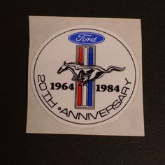 Vintage Ford Mustang Sticker 20th Anniversary 64-84 -- Unused