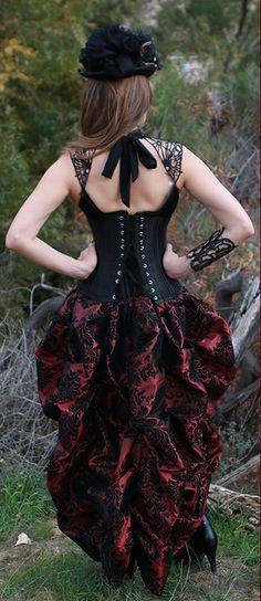 Steampunk Corsest Underbust Waist Trainer w/Damask Bustle Skirt Steampunk Outfits, Steampunk Clothing, Steampunk Fashion, Gothic Fashion, Victorian Fashion, Moda Steampunk, Steampunk Skirt, Victorian Steampunk, Victorian Blouse