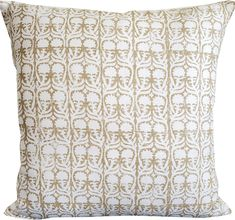 Ashok in Ecru Pillow Cover-High End Designer Decorative Pillow Cover-Accent Pillow-Single Sided