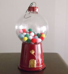 bubble gum machine- clear glass ornament, 7mm asst. color pompoms & K-cups- easy and super cute