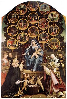 """The Virgin Mary's Rosary Prayer Apparition in Prouille, France: The painting """"Madonna of the Rosary"""" by Lorenzo Lotto. It portrays the Virgin Mary teaching the Rosary prayer to Saint Dominic. Rosary Prayer, Praying The Rosary, Holy Rosary, Rosary Catholic, Catholic Art, Catholic Saints, Religious Art, Religious Paintings, Religious Images"""