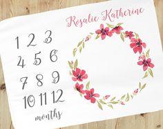 Baby Girl Milestone Blanket - Personalized Baby Blanket - Floral Baby Milestone Blanket - Baby Blanket - Calendar Photo Prop -custom blanket