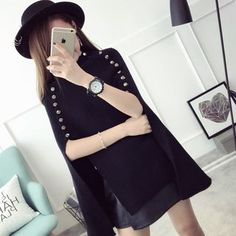 Buy Qimi Buttoned Knit Cape at YesStyle.com! Quality products at remarkable…