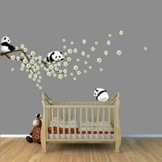 Amazon.com: Panda Bear Wall Decal with Cherry Blossom Tree Branch for Baby Nursery or Kid's Room: Home & Kitchen