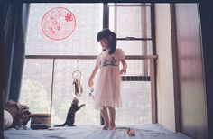 pretty girl standing on blue bed playing with small cat by unite images for Stocksy United