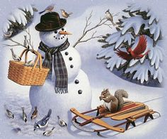 CARDINAL flying towards Snowman with basket of seeds