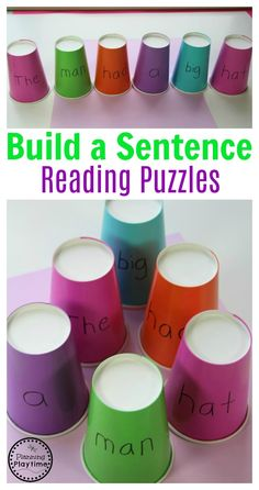 Build a Sentence Puzzles with Cups. So fun!