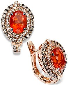 Le Vian Fire Opal (1-1/5 ct. Chocolate (1/2 ct. t.w.) and White Diamond (1/4 ct. t.w.) Earrings in 14k Rose Gold
