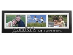 Malden Grandkids Keep Us Young at Heart - Silver Expression Frame, 4 by Silver Expressions matted three opening frame with stenciled words and a silver word attached. Grandkids keep us young at heart. Picture Frames Online, Hanging Picture Frames, Collage Picture Frames, Frames On Wall, Find Picture, Picture On Wood, Grandkids Picture Frames, Grandparent Photo, Vacation Humor
