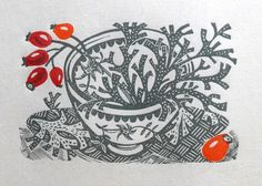 Spey Lichen wood engraving by Angie Lewin