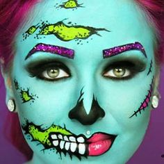 10 Stunning Makeup Ideas for Halloween Pop Art Makeup, Pin Up Makeup, Fx Makeup, Makeup Geek, Halloween Tutorial, Halloween Make Up, Halloween Face Makeup, Halloween 2018, Halloween Costumes