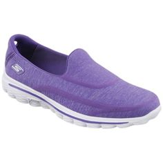 Skechers GOwalk 2 Super Sock Walking Shoes , Purple ($76) ❤ liked on Polyvore featuring shoes, purple, skechers flats, purple flats, slip on flats, purple shoes and slip on shoes