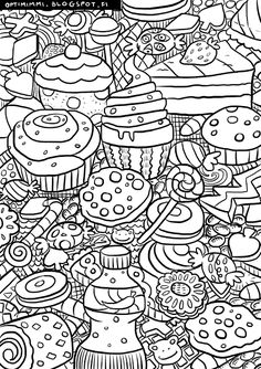 Cakes : This image can be printed as a coloring page (up to the paper size of A4). HQ version on the blog.