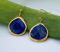Lapis necklace Bezel Gemstone necklace Gold necklace by delezhen