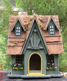 Large Wood Birdhouse Cottage House with Porch Flower Boxes  Offered by #CritterCreekRanch on Bonanza