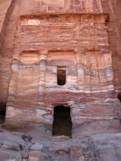 *PETRA,JORDAN~SILK TOMB: Beside the Urn Tomb is a small tomb known as the Silk Tomb. This name comes from the rich color of the sandstone.It is one of the most dramatically colored tombs in Petra.