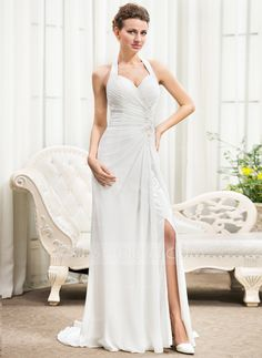 A-Line/Princess Halter Sweep Train Chiffon Wedding Dress With Ruffle Beading Appliques Lace Sequins Bow(s) Split Front (002056251)