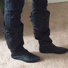 Black boots - size 11 - small heel Size 11 black flats. Used - the outside looks good but the heel is worn down/has holes. Make an offer!! Shoes Winter & Rain Boots