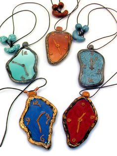 Made to order in color of your choice - Dali clocks - polymer clay pendant necklace. Art Jewelry. $25.00, via Etsy.