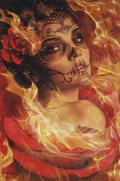 Burning Desire by Daniel Esparza Sugar Skull Framed Fine Art Print