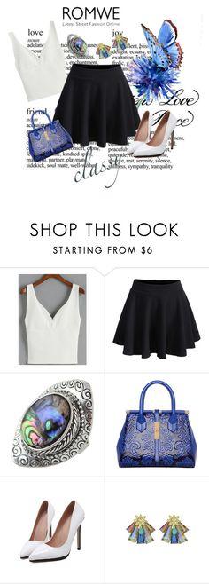 """ROMWE CONTEST - Elastic Waist Pleated Black Skirt"" by teez-biz-nez ❤ liked on Polyvore"