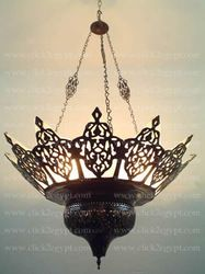 Large Oriental Brass Moroccan Chandelier Lined With Stained Glass in Collectibles, Lamps, Lighting, Ceiling Fixtures Moroccan Chandelier, Moroccan Lamp, Chandelier Lighting, Turkish Lamps, Moroccan Bedroom, Moroccan Lanterns, Moroccan Interiors, Moroccan Theme, Moroccan Style
