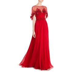 ZUHAIR MURAD Embellished Evening Gown ($8,545) ❤ liked on Polyvore featuring dresses, gowns, red gown, red evening dresses, red cocktail dress, cocktail dresses and special occasion gowns