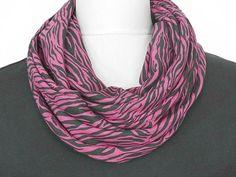 Zebra Infinity Scarf Animal Fuchsia Pink Black by ModaBellaScarves