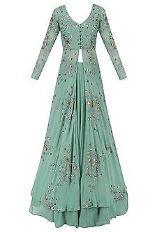 Youdesign Georgette Lehenga Suit In Teal Green Colour Size Upto 66 - Indian fashion - Lehenga Suit, Anarkali Dress, Pakistani Dresses, Indian Dresses, Indian Outfits, Jacket Lehenga, Lehenga Gown, Lehenga Style, Bridal Lehenga