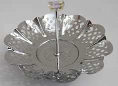 c 1930 s Art Deco Vintage Chrome Cake Stand & Stylized Lilac Handle