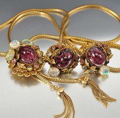 Vintage Purple Glass Opal Necklace Earrings Snake by boylerpf