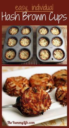Like, Repin, Comment ;) Individual Parmesan Hash Brown Cups - 1/2 the salt, 3 medium size potatoes, 350 for 40 min in 24 mini muffin pan Like, Repin, Comment, if you like it ;)