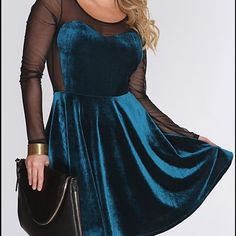 New S mesh and velvet skater dress New in package condition. Size small. Fit and flare. Sheer mesh. Great for the holidays Dresses Mini