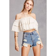 Forever21 Off-the-Shoulder Flounce Top ($25) ❤ liked on Polyvore featuring tops, natural, frill crop top, cut-out crop tops, cropped tops, scalloped crop top and off the shoulder crop top