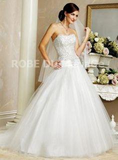 Robe ballon bustier en coeur taille basse satin robe de mariée [#ROBE20102] - robedumariage.com