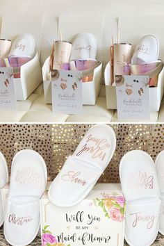 Once the heels are off... the slippers are ON, ladies! Keep your besties' feet warm and cozy with these comfy (and glamorous!) personalized bridesmaid slippers! Bridesmaid Slippers, Spa Weekend, Kids Slippers, Bridesmaid Proposal Gifts, Girls Getaway, Birthday Woman, Will You Be My Bridesmaid, Birthday Party Favors, On Your Wedding Day