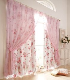 Pink sheer curtain panels over rose patterned panels...dreamy and so shabby chic. Floral Patterns For Home Décor: 37 Cool Ideas | DigsDigs Shabby Chic Curtains, Shabby Chic Living Room, Shabby Chic Bedrooms, Shabby Chic Kitchen, Shabby Chic Cottage, Shabby Chic Homes, Shabby Chic Furniture, Shabby Chic Decor, Elegant Curtains