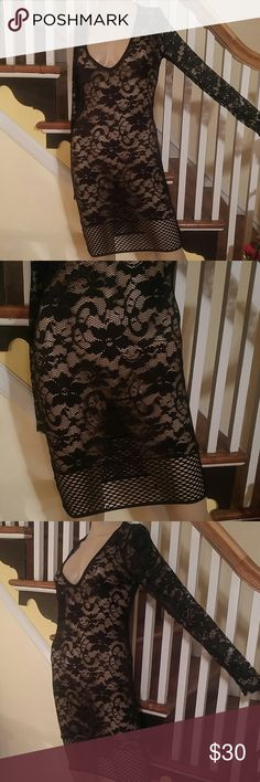 Black Lace Net Cover Up Dress.  See Through Dress. Black Lace Cover Up Dress.  See Through Lace Dress. A Real Beauty ! Stunning Condition ! Like New! Fits Average Size 6 to 8 Has Very Good Stretch Make a Very Sexy Cover Up Dress. Dresses