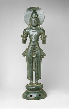 Standing Surya Period: Chola period (880–1279) Date: 11th–12th century Culture: India Medium: Copper alloy Dimensions: H. 19 1/8 in. (48.6 cm); W. 5 1/4 in. (13.3 cm); D. 4 3/4 in. (12 cm) Classification: Sculpture Credit Line: Samuel Eilenberg Collection, Bequest of Samuel Eilenberg, 1998 Accession Number: 2000.284.1