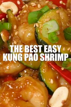 Easy Kung Pao Shrimp Recipe Video – a Chinese Food Takeout Copycat -tastes jus. - Easy Kung Pao Shrimp Recipe Video – a Chinese Food Takeout Copycat -tastes just like takeout Kung - Easy Chinese Recipes, Shrimp Recipes Easy, Seafood Recipes, Asian Recipes, Chicken Recipes, Cooking Recipes, Healthy Recipes, Lunch Recipes, Cooking Tips