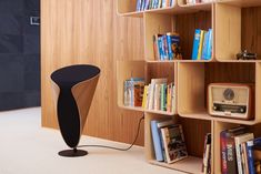 The new Davone Meander all-in-one stereo loudspeaker together with the pierre paulin elysee bookshelf. Bookshelves, Bookcase, Audio Design, Loudspeaker, All In One, Home Decor, Bookcases, Decoration Home, Room Decor