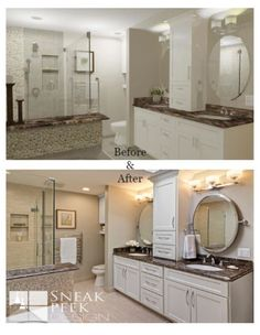 3D, White bathroom cabinets, cambria counter top, oval swivel mirrors, heated towel, vanity cabinet, bathroom cabinet, white sinks, master bathroom remodel, bathroom remodel ideas, towel rack, glass shower door, shower shelves, shower niche, shampoo shelf, two sinks, double sinks, minneapolis designer, bathroom ideas, bathroom renovation, master suite, before and after bathroom remodel,