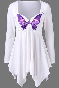 $14.16 Butterfly Print Empire Waist Asymmetrical T-Shirt - White