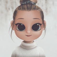 Cartoon, Portrait, Digital Art, Digital Drawing, Digital Painting, Character Design, Drawing, Big Eyes, Cute, Illustration, Art, Girl, Snow, Sweater, Bun