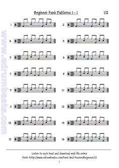 Drum Lesson contains 32 beginner funk/fusion drum beats. This lesson has 32 free midi drum loops audio samples. Drum Sheet Music, Drums Sheet, Drum Lessons, Music Lessons, Drum Rudiments, Drum Notes, Learn Drums, Bucket Drumming, Drum Parts